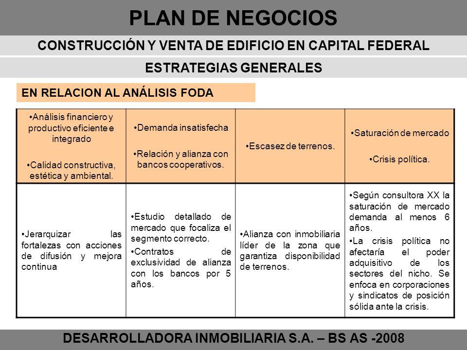 PLAN DE NEGOCIOS DESARROLLADORA INMOBILIARIA S.A. – BS AS -2008 ESTRATEGIAS GENERALES Análisis financiero y productivo eficiente e integrado Calidad c