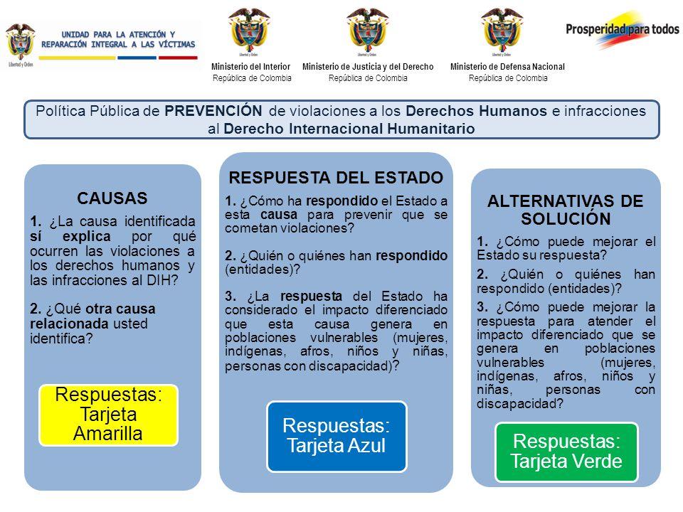 Ministerio del Interior República de Colombia Ministerio de Justicia y del Derecho República de Colombia Ministerio de Defensa Nacional República de Colombia CAUSAS 1.