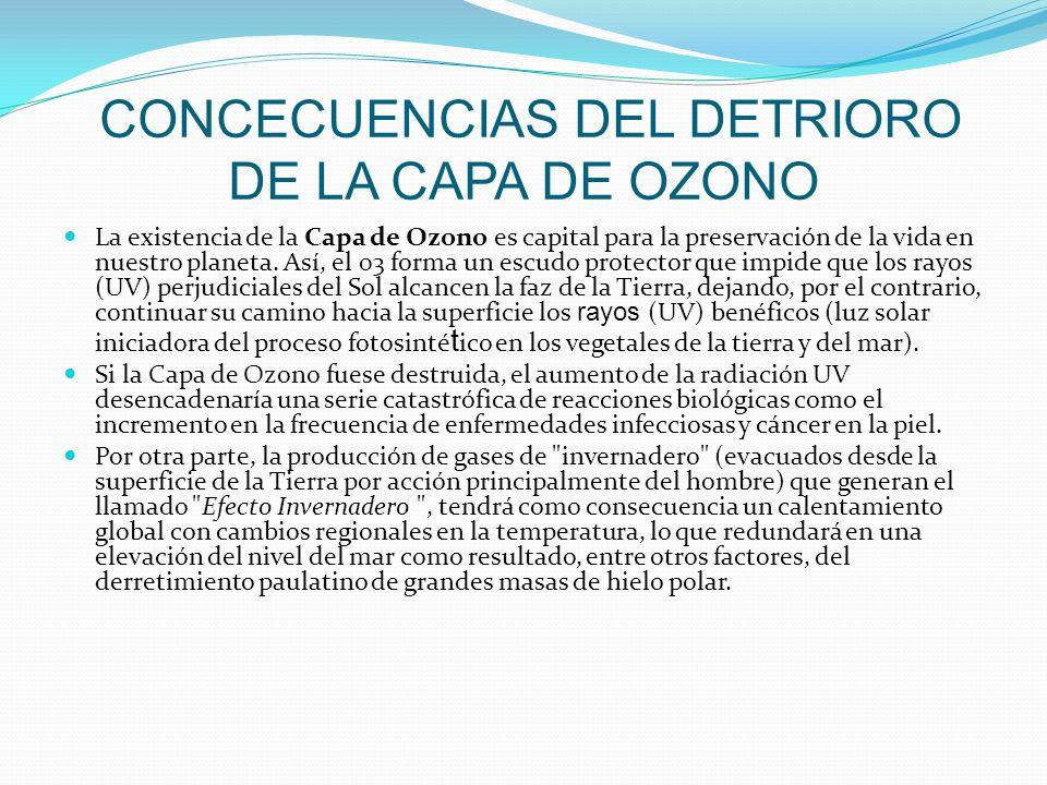 CONCECUENCIAS DEL DETRIORO DE LA CAPA DE OZONO La existencia de la Capa de Ozono es capital para la preservación de la vida en nuestro planeta. Así, e