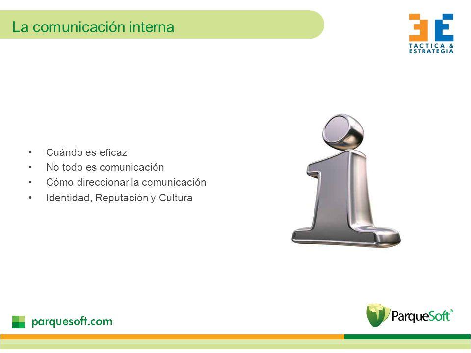 La comunicación interna Cuándo es eficaz No todo es comunicación Cómo direccionar la comunicación Identidad, Reputación y Cultura
