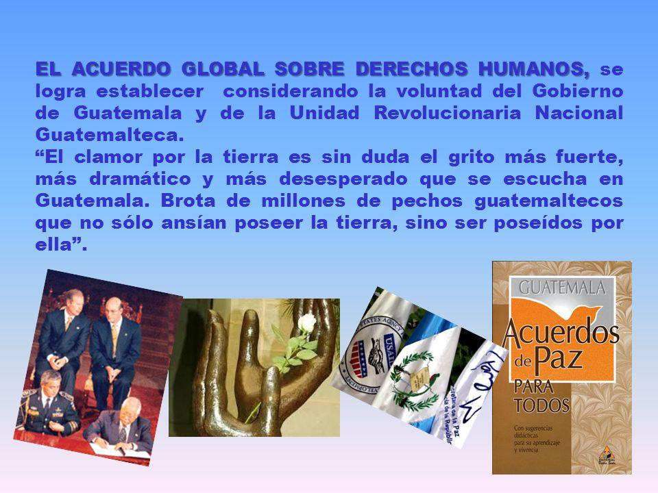 EL ACUERDO GLOBAL SOBRE DERECHOS HUMANOS, EL ACUERDO GLOBAL SOBRE DERECHOS HUMANOS, se logra establecer considerando la voluntad del Gobierno de Guate