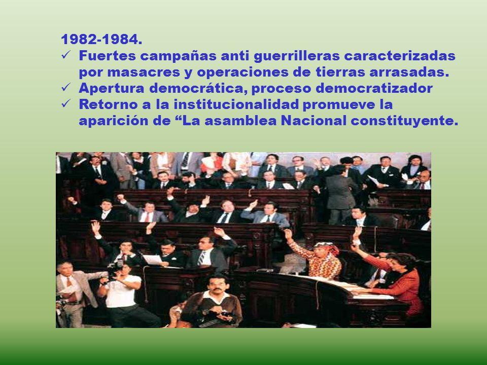 1982-1984. Fuertes campañas anti guerrilleras caracterizadas por masacres y operaciones de tierras arrasadas. Apertura democrática, proceso democratiz