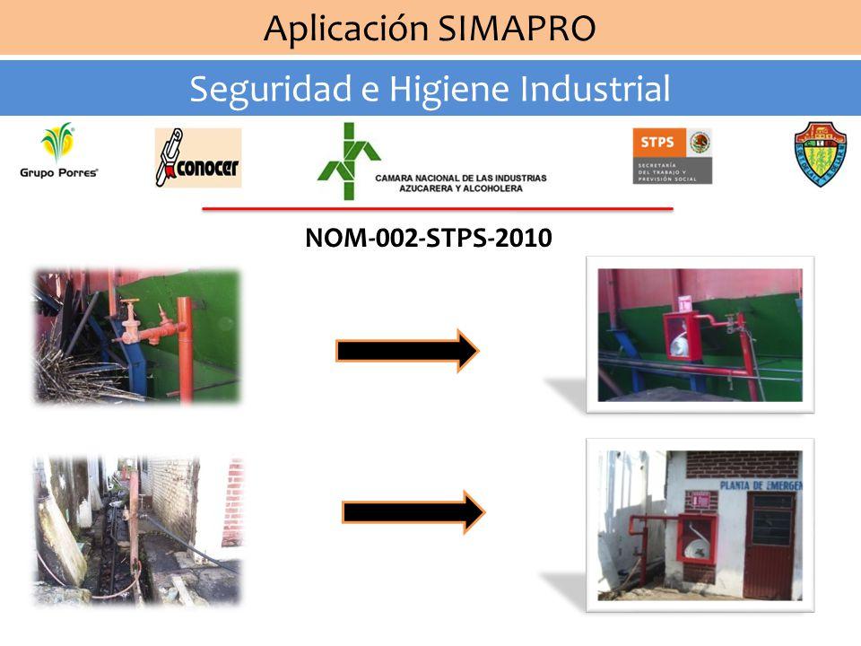 Aplicación SIMAPRO Seguridad e Higiene Industrial NOM-002-STPS-2010