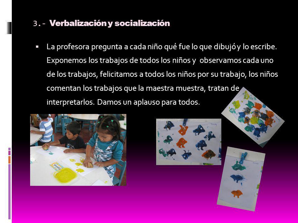 3.- Verbalización y socialización La profesora pregunta a cada niño qué fue lo que dibujó y lo escribe. Exponemos los trabajos de todos los niños y ob