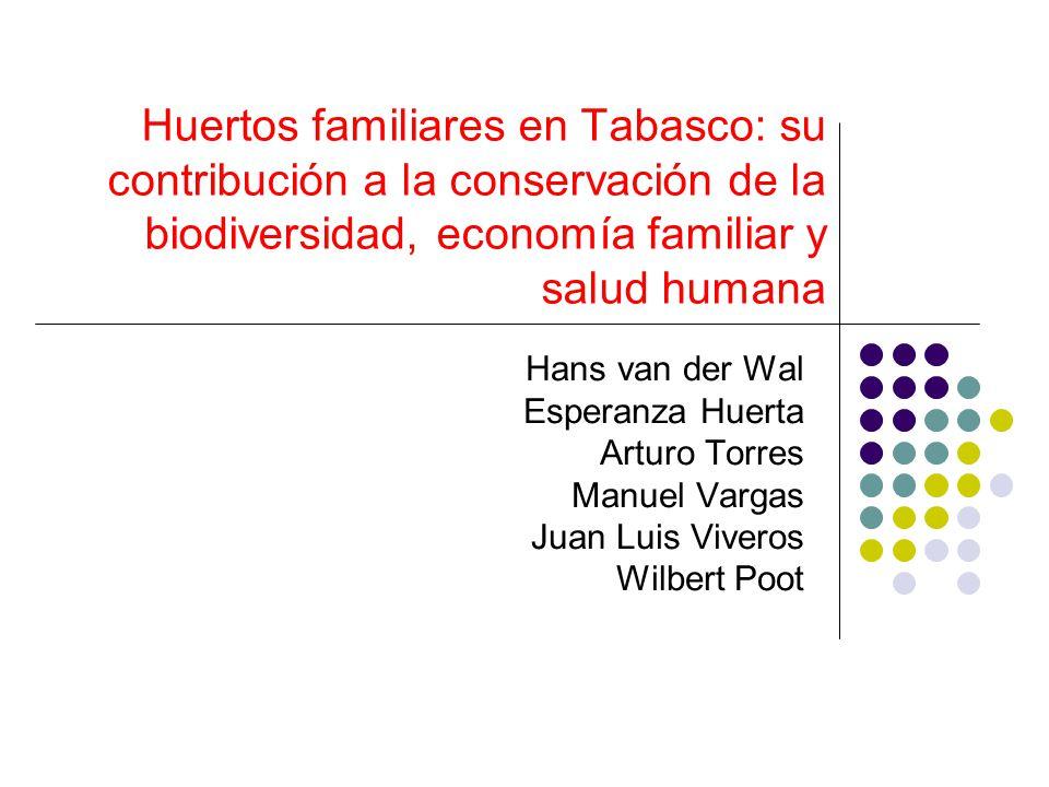 Huertos familiares en Tabasco: su contribución a la conservación de la biodiversidad, economía familiar y salud humana Hans van der Wal Esperanza Huer