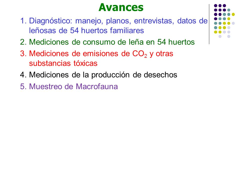 1.Diagnóstico: manejo, planos, entrevistas, datos de leñosas de 54 huertos familiares 2.Mediciones de consumo de leña en 54 huertos 3.Mediciones de em