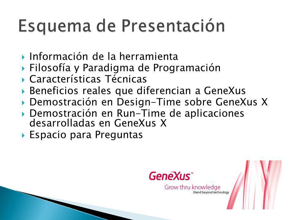 Información de la herramienta Filosofía y Paradigma de Programación Características Técnicas Beneficios reales que diferencian a GeneXus Demostración en Design-Time sobre GeneXus X Demostración en Run-Time de aplicaciones desarrolladas en GeneXus X Espacio para Preguntas