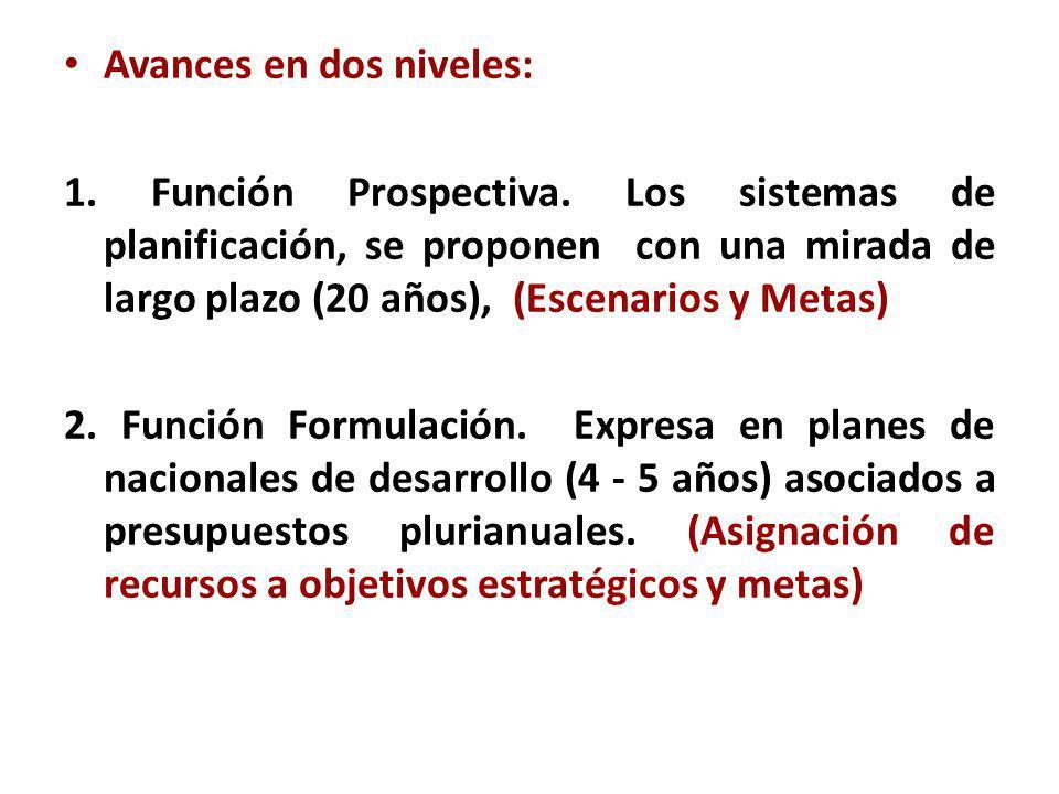 Avances en dos niveles: 1. Función Prospectiva. Los sistemas de planificación, se proponen con una mirada de largo plazo (20 años), (Escenarios y Meta
