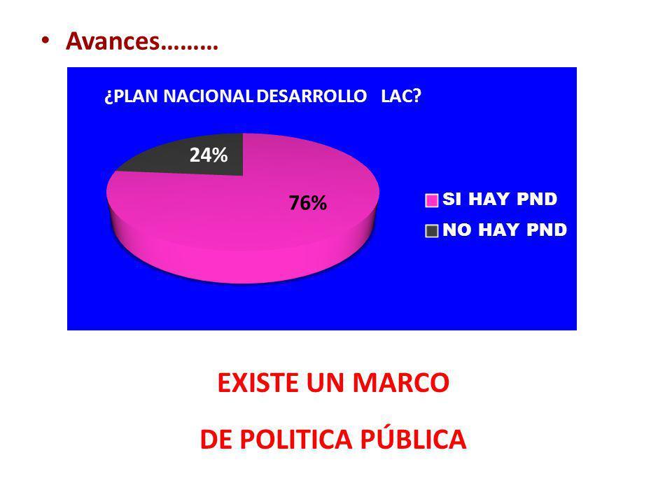 Avances……… EXISTE UN MARCO DE POLITICA PÚBLICA