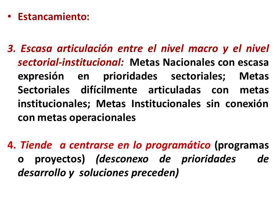 Estancamiento: 3. Escasa articulación entre el nivel macro y el nivel sectorial-institucional: Metas Nacionales con escasa expresión en prioridades se