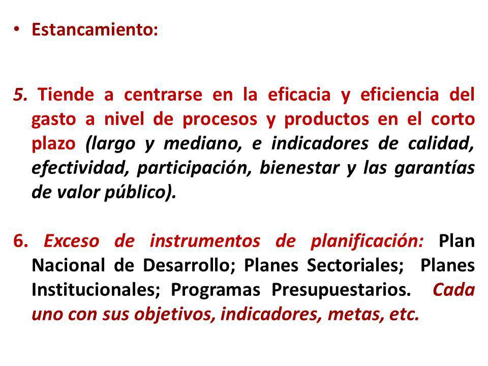 Estancamiento: 5. Tiende a centrarse en la eficacia y eficiencia del gasto a nivel de procesos y productos en el corto plazo (largo y mediano, e indic