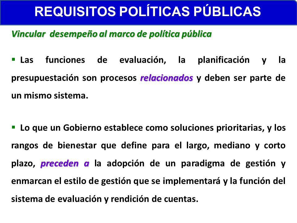 REQUISITOS POLÍTICAS PÚBLICAS Vincular desempeño al marco de política pública relacionados Las funciones de evaluación, la planificación y la presupue