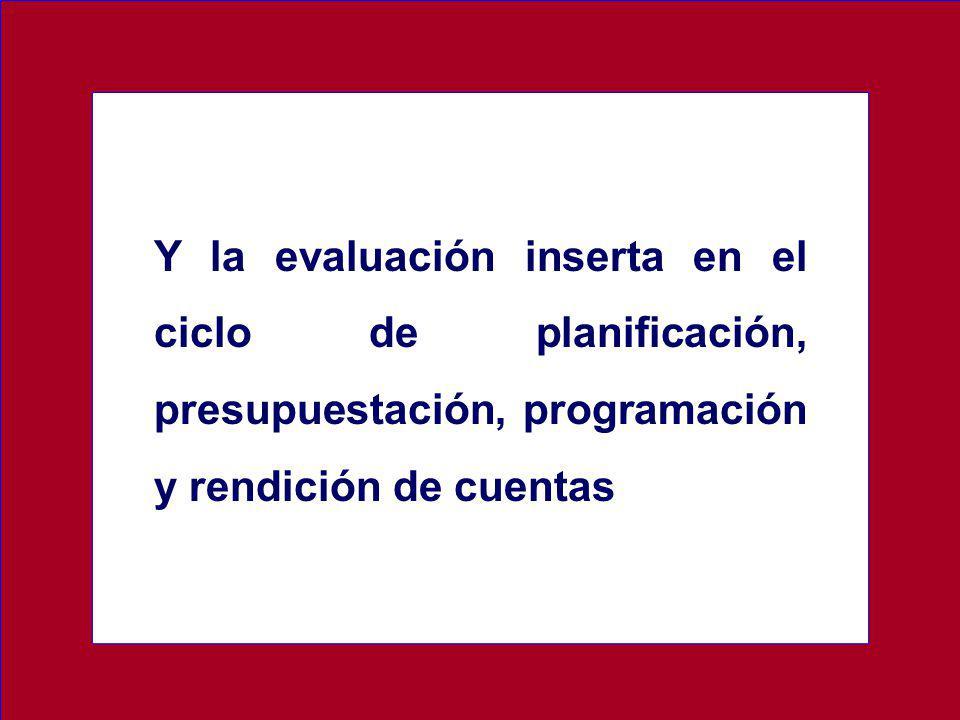 Y la evaluación inserta en el ciclo de planificación, presupuestación, programación y rendición de cuentas