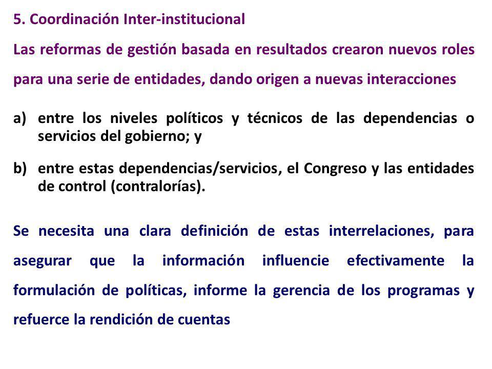 5. Coordinación Inter-institucional Las reformas de gestión basada en resultados crearon nuevos roles para una serie de entidades, dando origen a nuev