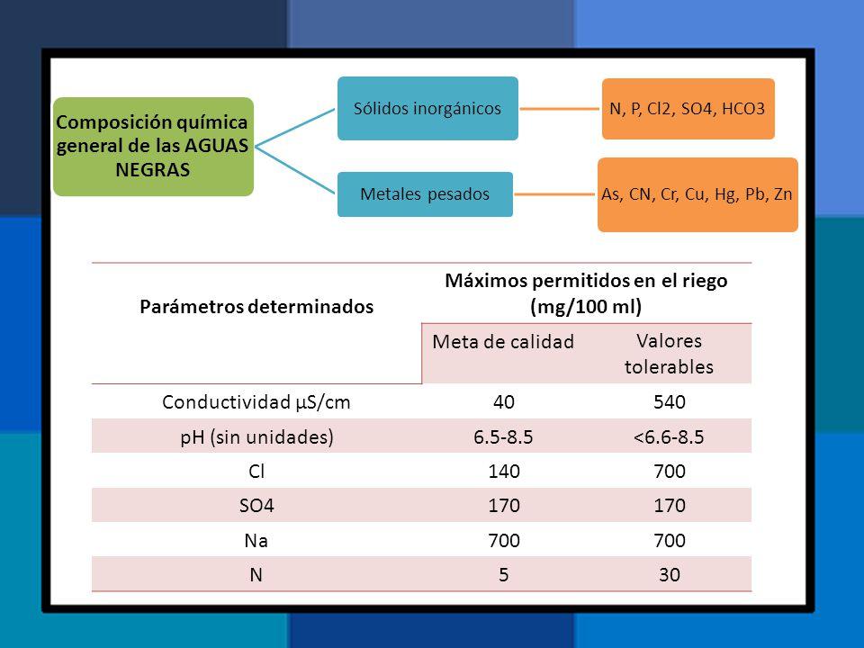 Composición química general de las AGUAS NEGRAS Sólidos inorgánicos N, P, Cl2, SO4, HCO3 Metales pesados As, CN, Cr, Cu, Hg, Pb, Zn Parámetros determi