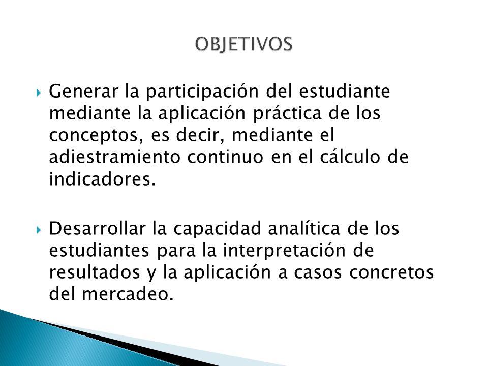 Generar la participación del estudiante mediante la aplicación práctica de los conceptos, es decir, mediante el adiestramiento continuo en el cálculo