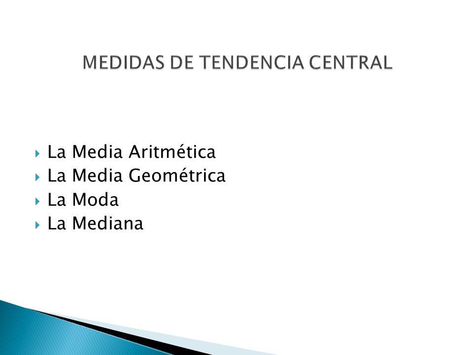 La Media Aritmética La Media Geométrica La Moda La Mediana