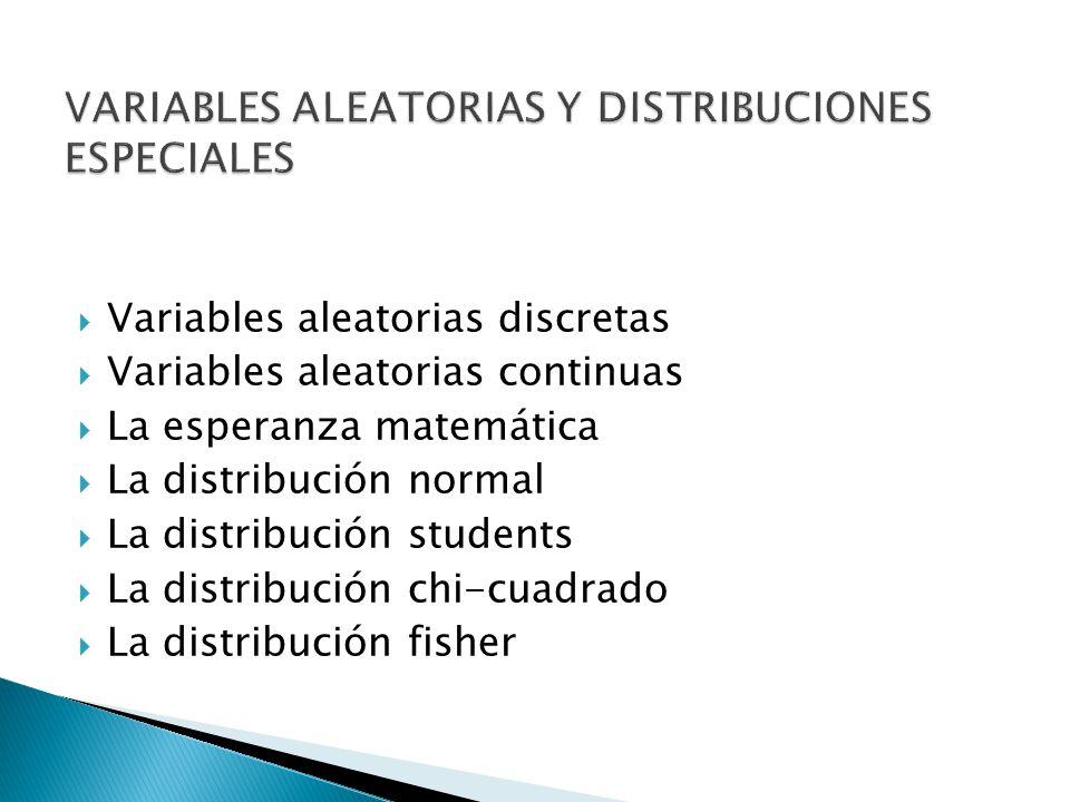 Variables aleatorias discretas Variables aleatorias continuas La esperanza matemática La distribución normal La distribución students La distribución