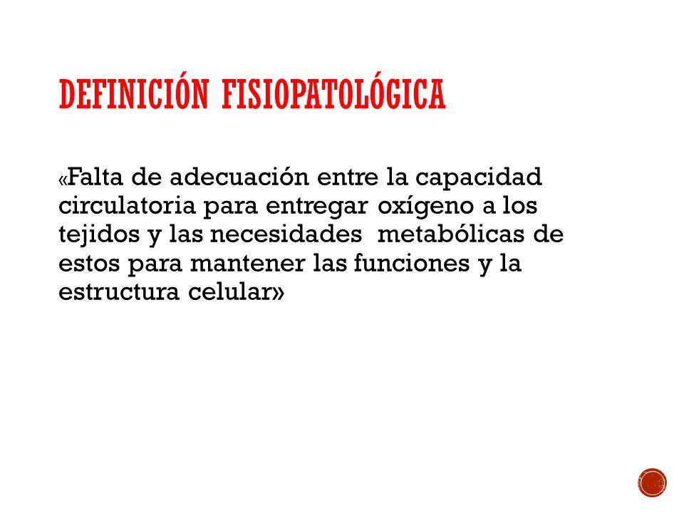 CLASIFICACIÓN FISIOPATOLÓGICA 1-) Shock con baja disponibilidad de oxígeno: - Hipovolémico - Cardiogénico 2-) Shock con disponibilidad normal o aumentada: - Séptico (pese a un aporte adecuado de oxígeno éste no es consumido normalmente por los tejidos, ya sea por alteraciones del metabolismo tisular o por mala distribución del flujo sanguíneo)