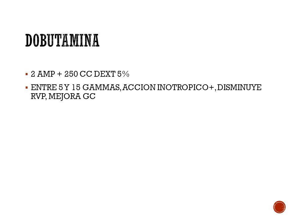 2 AMP + 250 CC DEXT 5% ENTRE 5 Y 15 GAMMAS, ACCION INOTROPICO+, DISMINUYE RVP, MEJORA GC