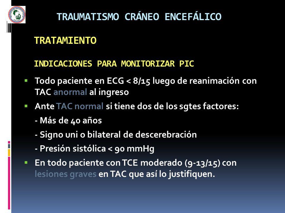 TRAUMATISMO CRÁNEO ENCEFÁLICO TRATAMIENTO INDICACIONES PARA MONITORIZAR PIC Todo paciente en ECG < 8/15 luego de reanimación con TAC anormal al ingres