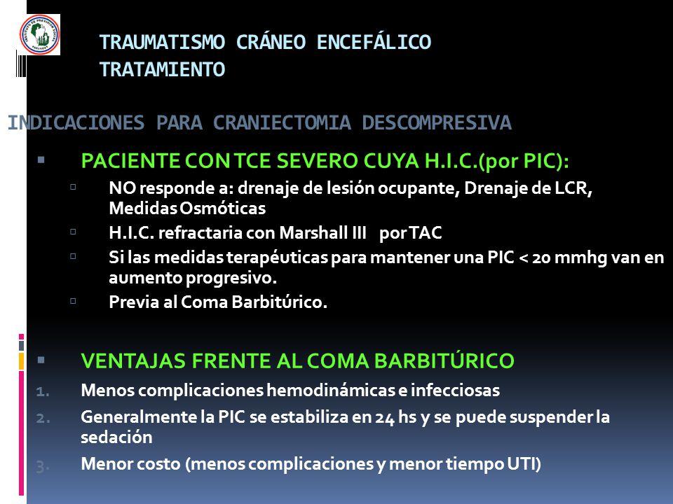 TRAUMATISMO CRÁNEO ENCEFÁLICO TRATAMIENTO INDICACIONES PARA CRANIECTOMIA DESCOMPRESIVA PACIENTE CON TCE SEVERO CUYA H.I.C.(por PIC): NO responde a: dr