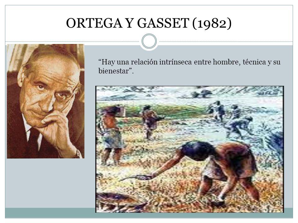 ORTEGA Y GASSET (1982) Hay una relación intrínseca entre hombre, técnica y su bienestar.