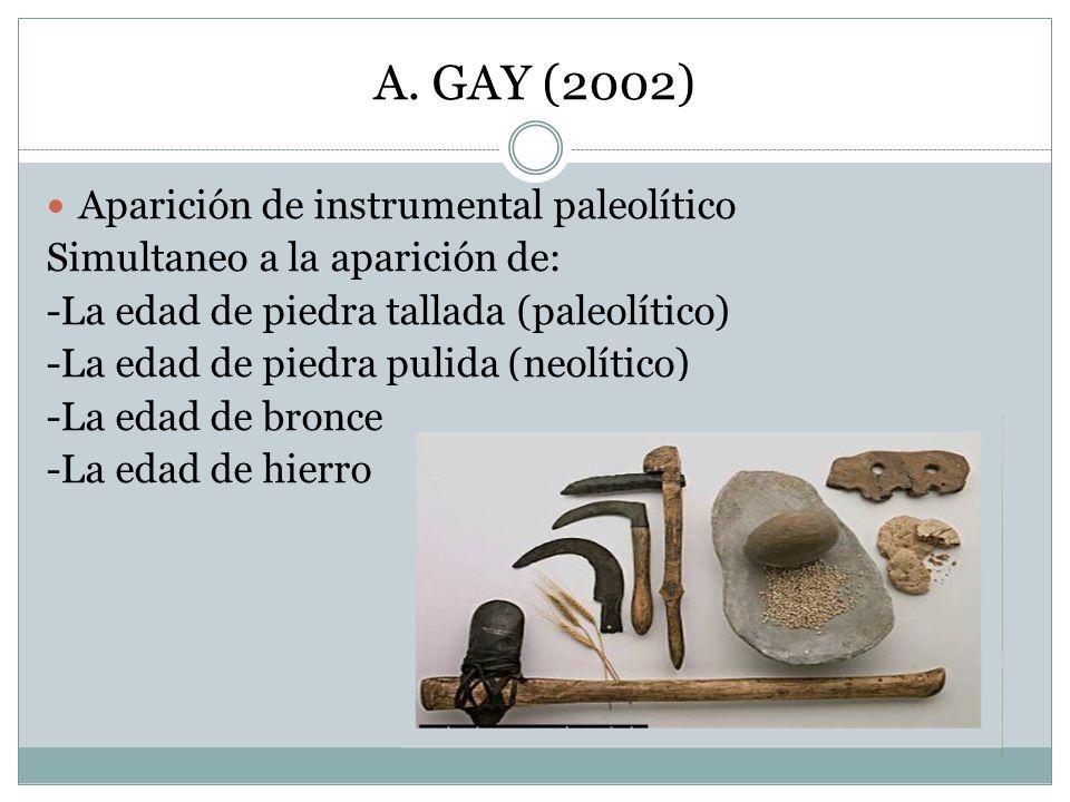 A. GAY (2002) Aparición de instrumental paleolítico Simultaneo a la aparición de: -La edad de piedra tallada (paleolítico) -La edad de piedra pulida (