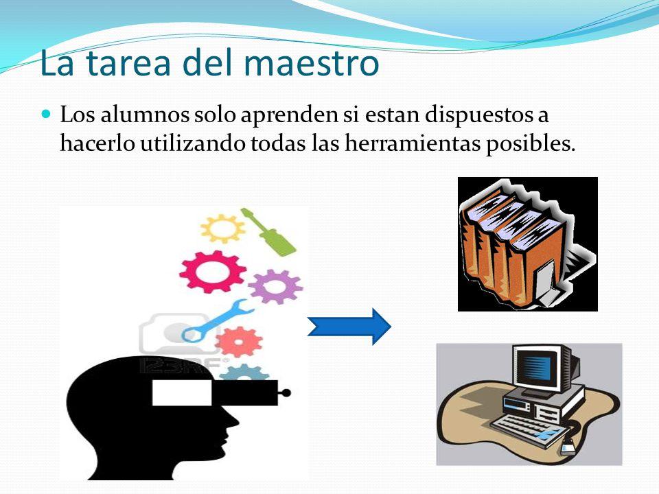 La tarea del maestro Los alumnos solo aprenden si estan dispuestos a hacerlo utilizando todas las herramientas posibles.