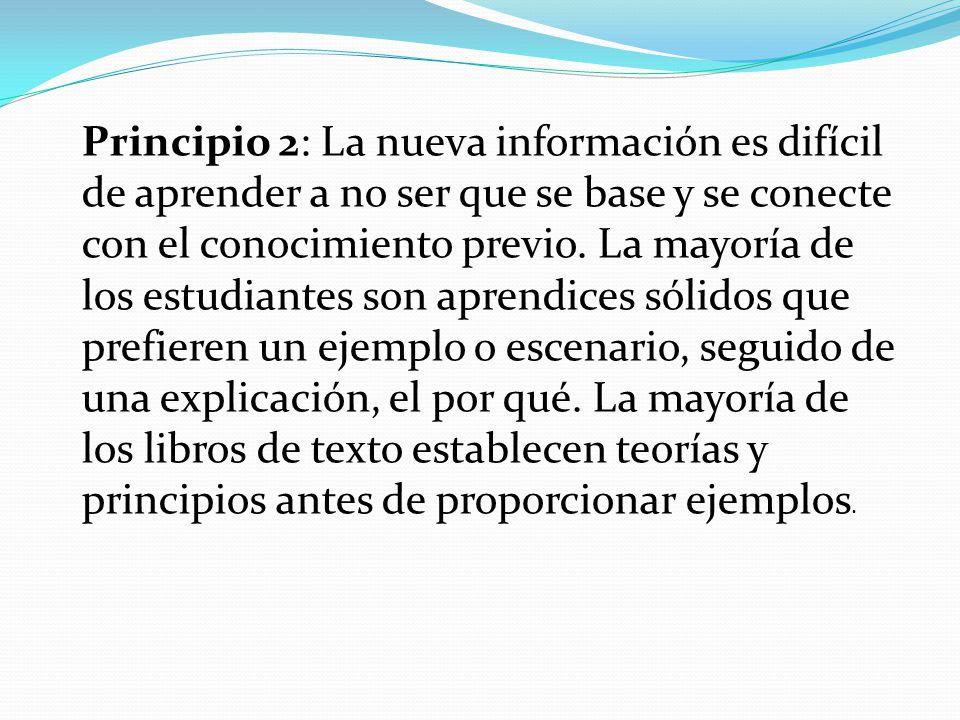 Principio 2: La nueva información es difícil de aprender a no ser que se base y se conecte con el conocimiento previo. La mayoría de los estudiantes s