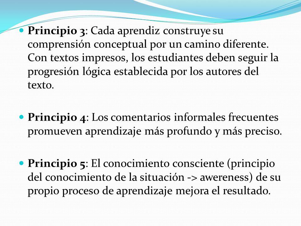 Principio 3: Cada aprendiz construye su comprensión conceptual por un camino diferente. Con textos impresos, los estudiantes deben seguir la progresió