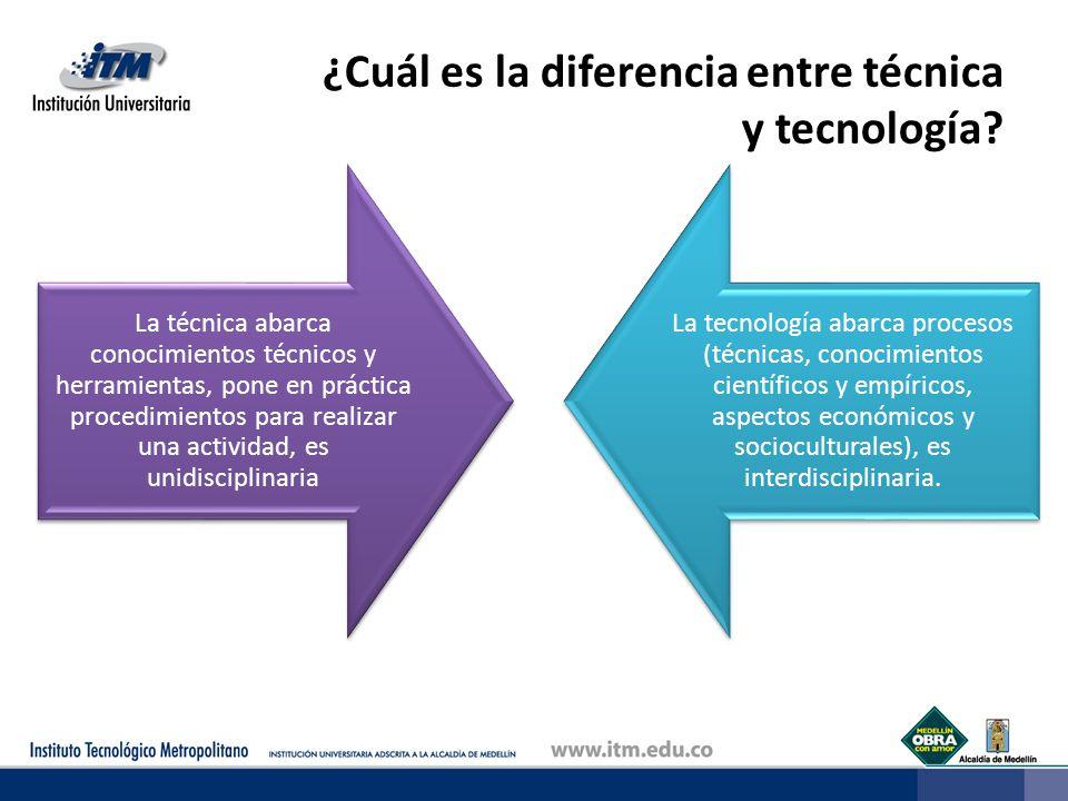 ¿Cuál es la diferencia entre técnica y tecnología? La técnica abarca conocimientos técnicos y herramientas, pone en práctica procedimientos para reali