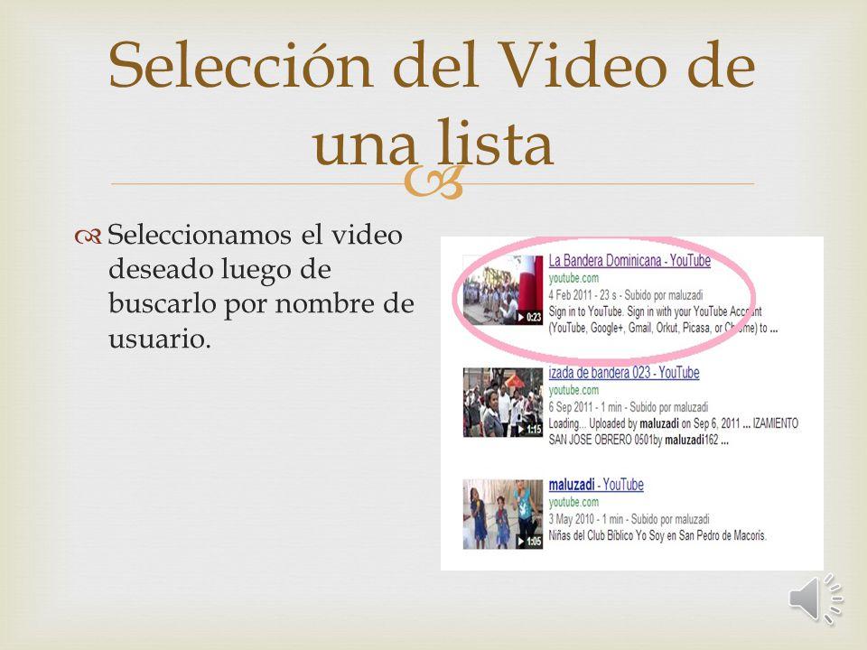 Selección del Video de una lista Seleccionamos el video deseado luego de buscarlo por nombre de usuario.