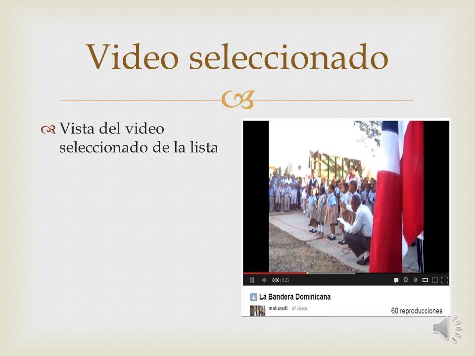 Video seleccionado Vista del video seleccionado de la lista