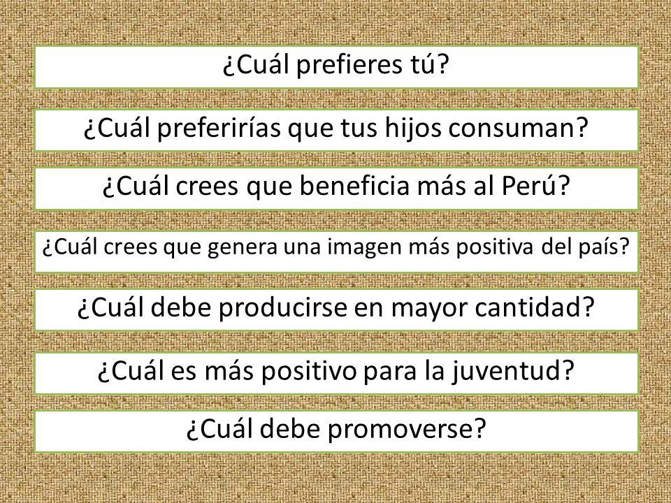 ¿Cuál prefieres tú. ¿Cuál crees que beneficia más al Perú.