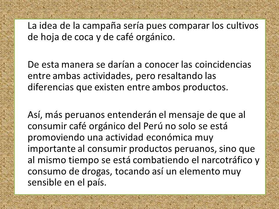 La idea de la campaña sería pues comparar los cultivos de hoja de coca y de café orgánico.