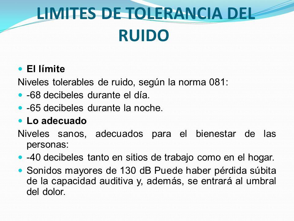 LIMITES DE TOLERANCIA DEL RUIDO El límite Niveles tolerables de ruido, según la norma 081: -68 decibeles durante el día. -65 decibeles durante la noch