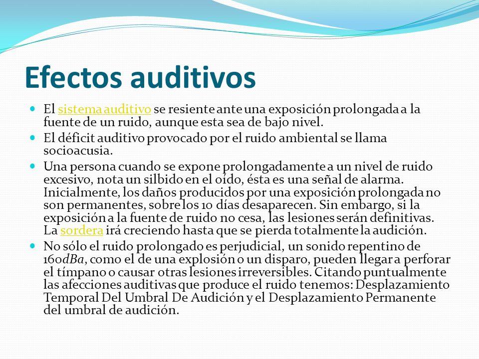 Efectos auditivos El sistema auditivo se resiente ante una exposición prolongada a la fuente de un ruido, aunque esta sea de bajo nivel.sistema auditivo El déficit auditivo provocado por el ruido ambiental se llama socioacusia.