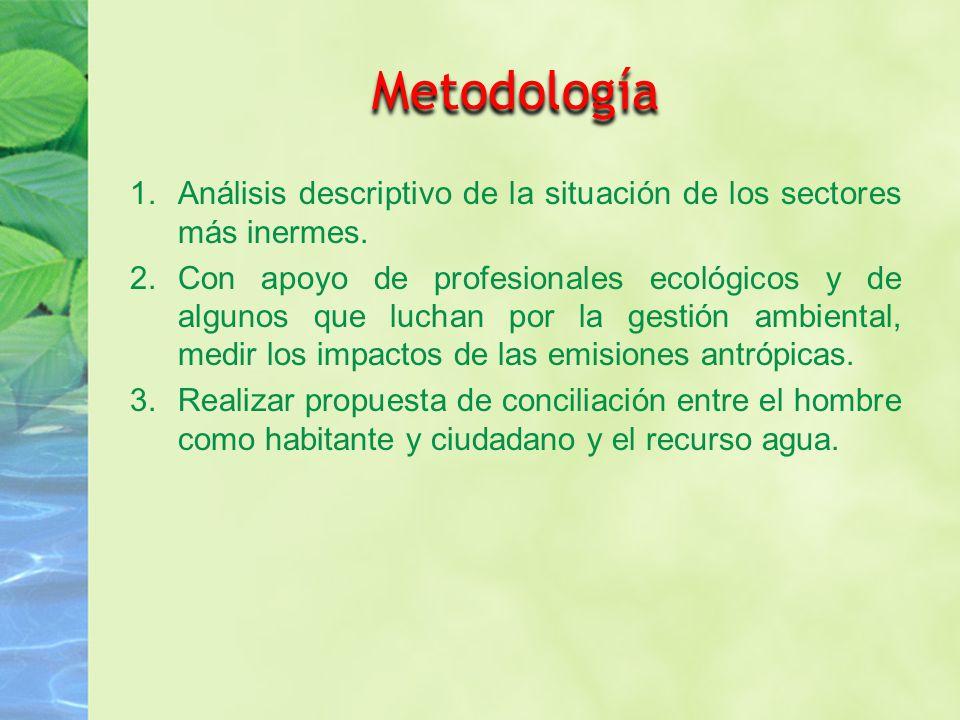 Metodología 1.Análisis descriptivo de la situación de los sectores más inermes.