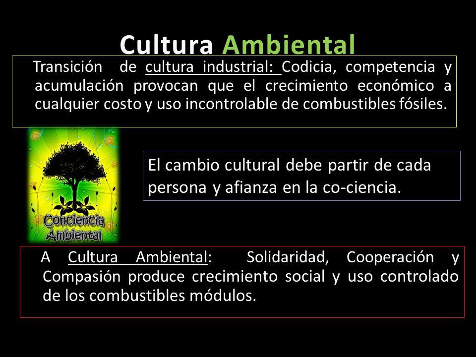 Cultura AmbientalCultura Ambiental Transición de cultura industrial: Codicia, competencia y acumulación provocan que el crecimiento económico a cualqu