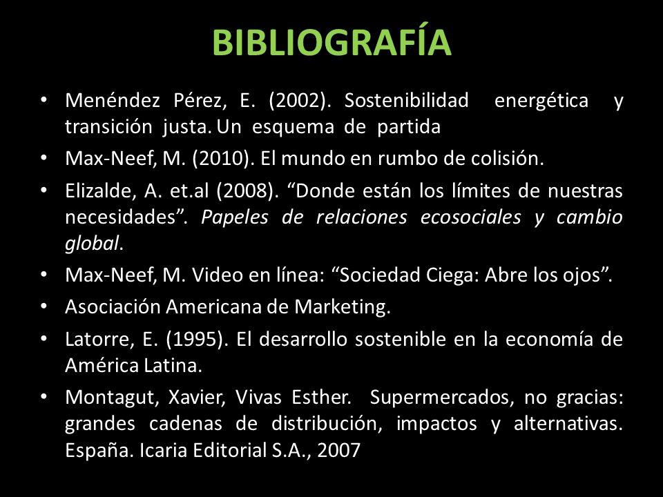 BIBLIOGRAFÍA Menéndez Pérez, E. (2002). Sostenibilidad energética y transición justa. Un esquema de partida Max-Neef, M. (2010). El mundo en rumbo de