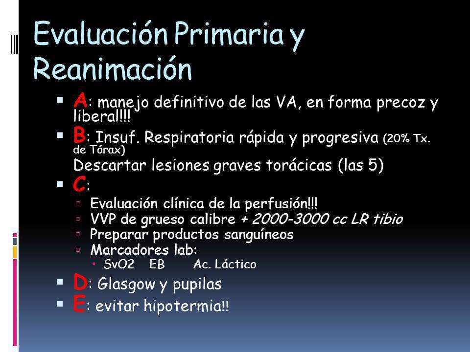 Evaluación Primaria y Reanimación A : manejo definitivo de las VA, en forma precoz y liberal!!.