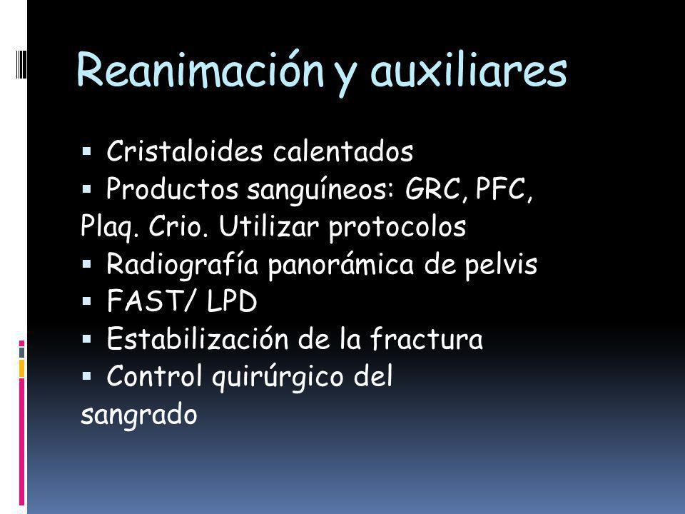 Reanimación y auxiliares Cristaloides calentados Productos sanguíneos: GRC, PFC, Plaq.