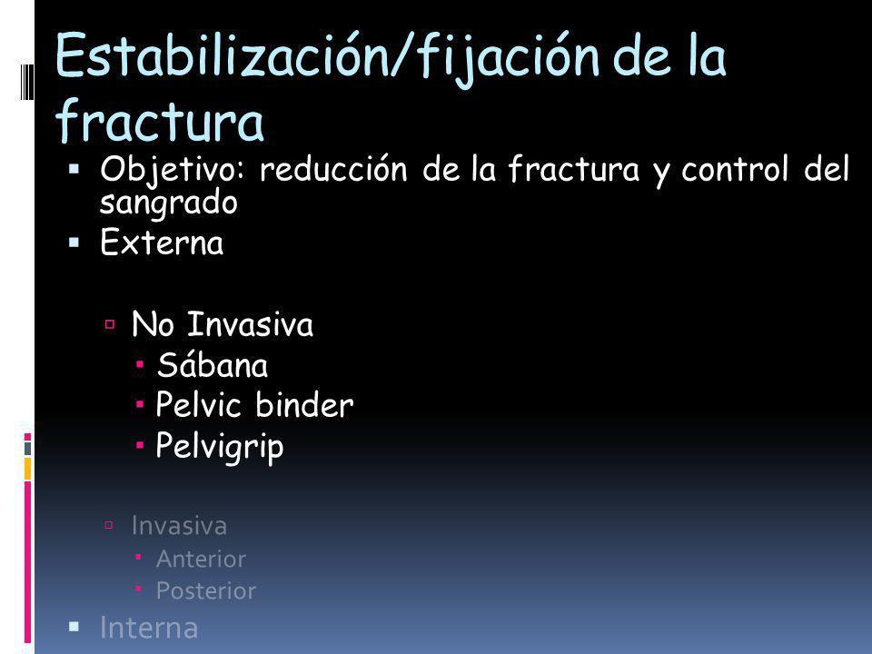 Estabilización/fijación de la fractura Objetivo: reducción de la fractura y control del sangrado Externa No Invasiva Sábana Pelvic binder Pelvigrip Invasiva Anterior Posterior Interna