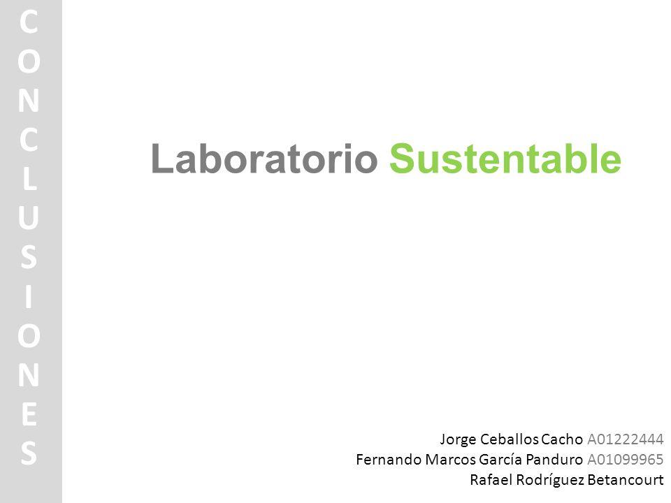 Laboratorio Sustentable CONCLUSIONESCONCLUSIONES Jorge Ceballos Cacho A01222444 Fernando Marcos García Panduro A01099965 Rafael Rodríguez Betancourt