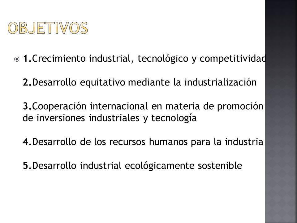 1.Crecimiento industrial, tecnológico y competitividad 2.Desarrollo equitativo mediante la industrialización 3.Cooperación internacional en materia de