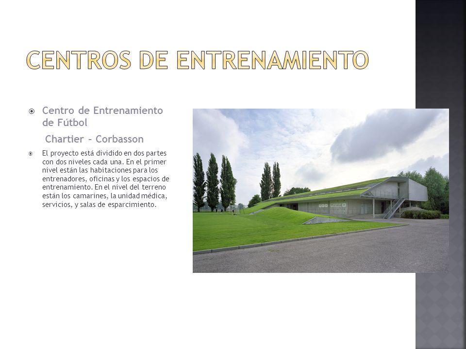 Centro de Entrenamiento de Fútbol Chartier – Corbasson El proyecto está dividido en dos partes con dos niveles cada una. En el primer nivel están las