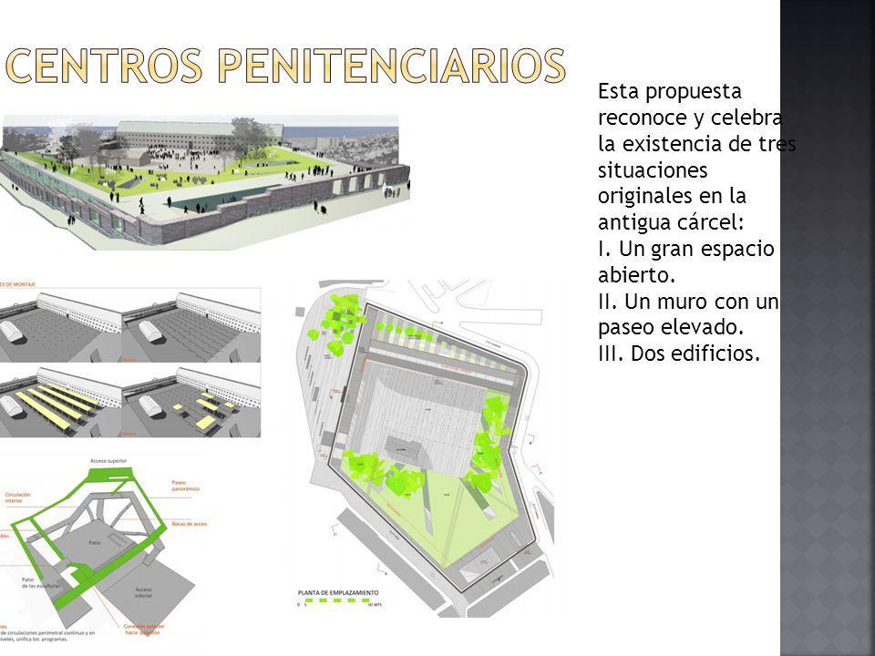 Esta propuesta reconoce y celebra la existencia de tres situaciones originales en la antigua cárcel: I. Un gran espacio abierto. II. Un muro con un pa
