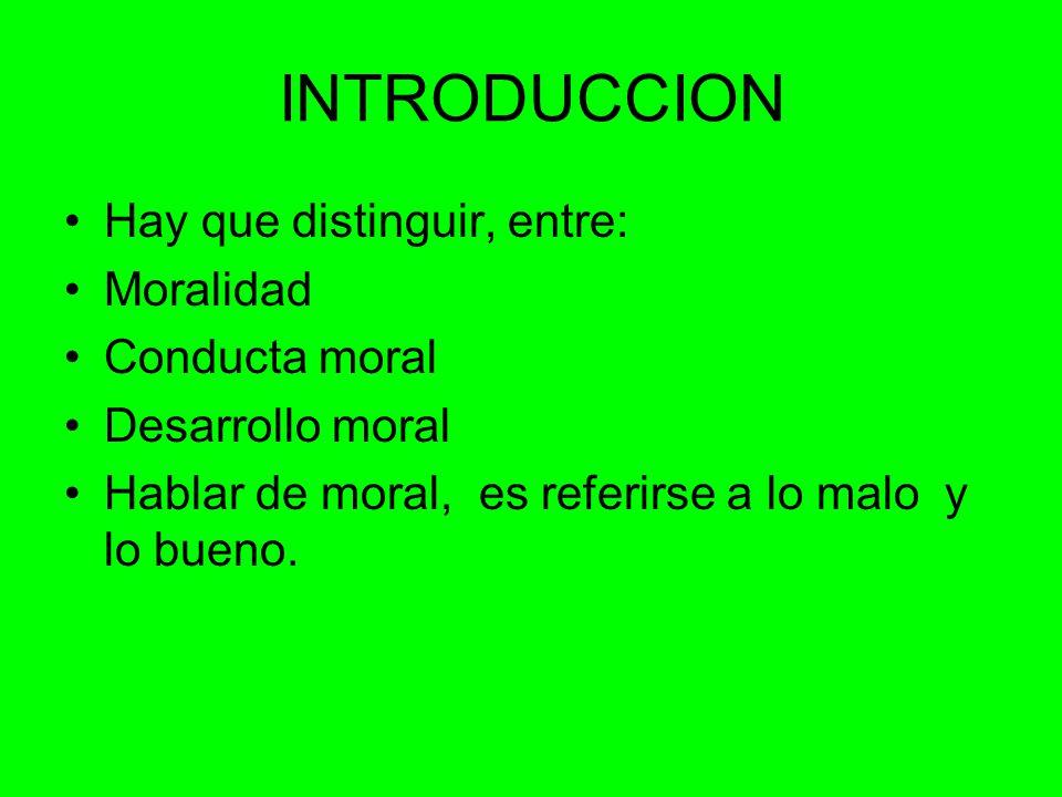INTRODUCCION Hay que distinguir, entre: Moralidad Conducta moral Desarrollo moral Hablar de moral, es referirse a lo malo y lo bueno.