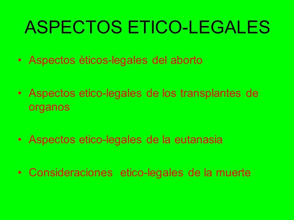 ASPECTOS ETICO-LEGALES Aspectos èticos-legales del aborto Aspectos etico-legales de los transplantes de organos Aspectos etico-legales de la eutanasia Consideraciones etico-legales de la muerte
